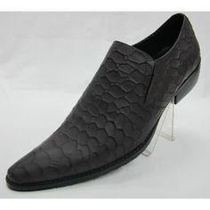 Men Charcoal Gray Grey Retro Vintage Western Style Dress Shoes SKU-1100347