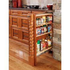 Access your frequently used spices, seasonings and condiments with this cabinet base filler. With adjustable shelves, you can increase or decrease space however you need. It comes fully assembled and ready-to-install in your kitchen renovation. (Other colors and finished available.)