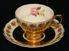 VINTAGE Rosina Teacup and Saucer Rich Gold and Roses by RCSales, $50.00