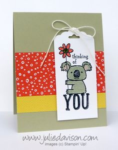 Stampin' Up! Kind Koala Tag Card with Flowerpot Designer Paper #stampinup www.juliedavison.com