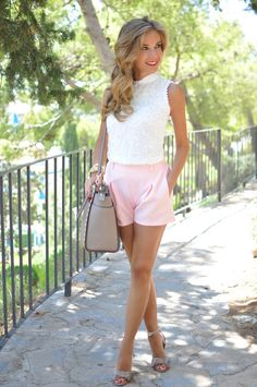 Lace top and pink shorts
