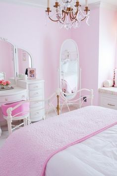 Pink and White Vintage Bedroom