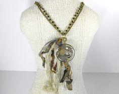 Steampunk Jewelry Necklace Vintage Pocket Watch Case Lens Brass WINGS Gears Key Women's Statement Focal - Steampunk Jewelry by edmdesigns on Etsy, $125.00