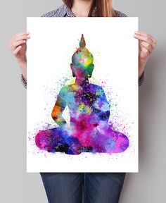 SET Buda  Buda arte acuarela símbolo Om y Lotus Flower