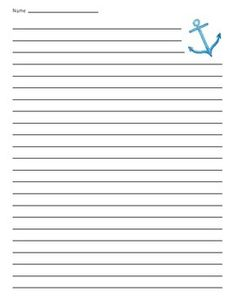 Sea anchor lined paper - great for writing projects, narrative, informative, etc.Sea Anchor Primary Lined Paper. Open When Letters, Love Letters, Scrapbook Layouts, Scrapbooking, Lined Writing Paper, Printable Lined Paper, Crochet Flower Patterns, Stationery Paper, Planner Pages