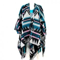 Blue & Black Arrow Aztec Montana West Cape Poncho Enjoy the combination of comfort, warmth, and style with this high quality poncho. It features beautiful colors in a stylish pattern.   - Unique Design - Comfortable Material - Woven Fabric - Fringe - Open, easy to wear - One Size Fits Most Adults www.jodiodiescountryclassics.com
