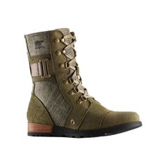 Women's Sorel Major Carly Lace Up Boot - Nori/Pebble Casual ($150) ❤ liked on Polyvore featuring shoes, boots, military fashion, laced boots, military style boots, leather shoes and genuine leather boots