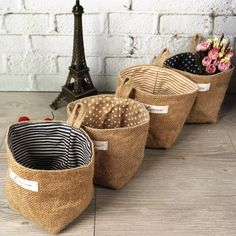 Double sided eco-friendly jute fabrics wall hanging storage bags small office baskets in Home & Garden Storage baskets - - Sewing Crafts, Sewing Projects, Wall Hanging Storage, How To Wrap Flowers, Flower Wrap, Jute Bags, Burlap Bags, Hessian, Jute Fabric