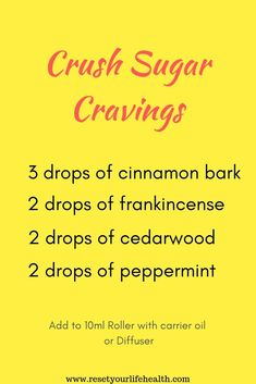 An Essential Oil Recipe to Stop Sugar Cravings in their tracks. Fast relief usin… An Essential Oil Recipe to Stop Sugar Cravings in their tracks. Fast relief using Doterra Oils. Either by roller or. Essential Oils Guide, Essential Oils For Headaches, Essential Oil Diffuser Blends, Essential Oil Uses, Doterra Essential Oils, Young Living Essential Oils, Doterra Blends, Stop Sugar Cravings, Oil For Headache