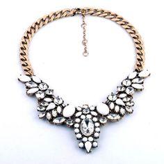 flower crystal bib statement bib necklace #Handmade