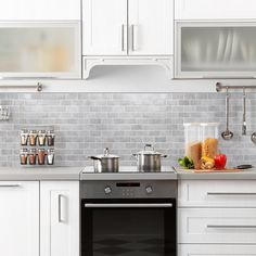 Gray Subway Tile Backsplash, Stove Backsplash, White Kitchen Backsplash, Kitchen Stove, Ikea Kitchen, Kitchen Tiles, Mosaic Backsplash, Backsplashes With White Cabinets, Home Depot Backsplash