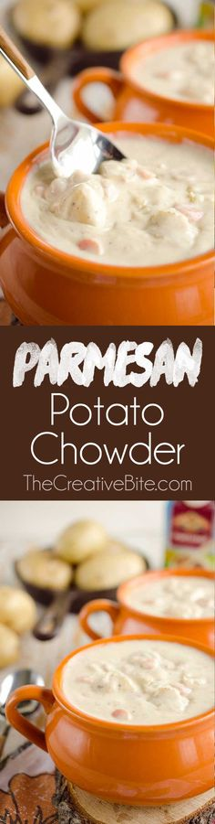 Parmesan Potato Chowder is a decadent and satisfying soup sure to warm you up in the cold winter months!