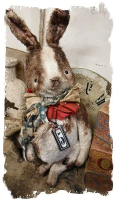 """Image of Old Spotted Chubby Bunny (10"""") Rabbit * Delightful * by Whendi's Bears"""