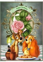 Candlelight supper with cute pair of dogs with pink roses A4 on Craftsuprint - View Now!
