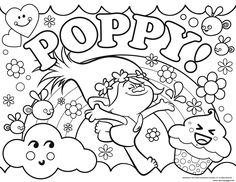 Print Trolls Poppy coloring pages