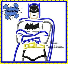Batman Sketch Digital Embroidery Machine Design File  4x4 5x7 6x10 by Thanks4TheAdventure on Etsy