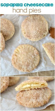Sopapilla Cheesecake Hand Pies - an easy sopapilla with no frying! Baked hand pies filled with cheesecake and dipped in cinnamon sugar for a twist on a favorite cinco de mayo recipe!