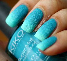 Lackaffen: Kiko Sugar Mat - Mint & Turquoise Gradient Nails