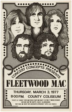Rare Mini Print/Poster - Size: A4 (Approximately: 21 cm x 29.7 cm) 8.27 inches x 11.7 inches. County Seat, Striders, March 3rd, Fleetwood Mac, Concert Posters, Poster Prints, The Unit, Mini, Gig Poster