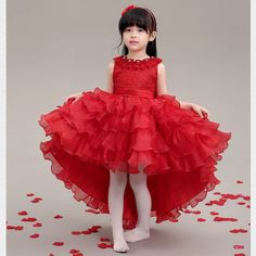 Ad Red Girls Dance Fairy Dress Pageant Performance Dresses Kids Clothing 652 | eBay