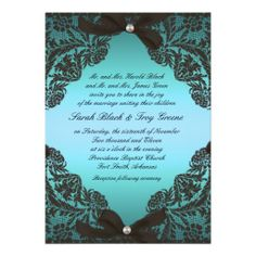 Teal and Black Lace wedding invitation