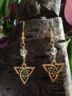 Gold trinity knot, celtic triangle dangle earrings | Valerie Kagan Handmade