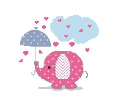 Cross stitch pattern of cute pink elephant under by MUMMYSTITCHES