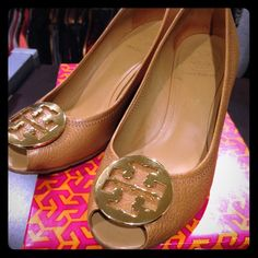 ‼️SALE‼️Tory Burch Sally 2 Peep Toe Wedge in Tan Royal Tan/Gold tumbled leather peep toe pump. Very good condition - one tiny scuff on right shoe behind heel (see pic). Includes original Tory Burch box. Fantastic for spring/summer! No trades. Tory Burch Shoes Wedges