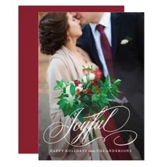 Script Joyful Holiday Photo Card - wedding invitations cards custom invitation card design marriage party