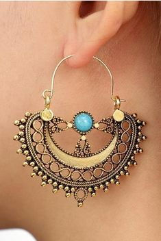 Orbital Blue Boho Drop Earrings. An intricate design features a delicate turquoise stone atop an etched hoop. Light weight and comfortable in everyday life. #vintageearrings #mandalaearrings #bohoearrings #bohojewelry Blue Drop Earrings, Buy Earrings, Fashion Earrings, Fashion Jewelry, Earrings Online, Hippie Style, Bohemian Style, Ethnic Style, Neutral