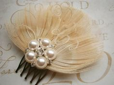 Wedding Hair Accessories, Bridal Feather Fascinator, Ivory Peacock Wedding Hair clip, Peacock, Ivory Brides Hair Facinator - TRIPLE IVORY. $36.00, via Etsy.