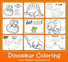 Just Color! ~ Free Coloring Printables- different themes include easter, winter, beach, camping, and more. Dinosaur Theme Preschool, Dinosaur Activities, Dinosaur Crafts, Dinosaur Party, Preschool Art, Preschool Activities, Dinosaur Dinosaur, Dinosaur Pattern, Dinosaur Coloring Pages
