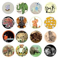 Free Bottle Cap Images: Vintage cute elephant bottle cap images