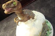 Scary baby dinosaur hatchling birthday cake