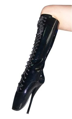 Women Sexy Shoes Black Lace Up Designed Knee High Shoes High Heel Ballet Boots Super High Heels, High Shoes, Black High Heels, Black Boots, Zapatos Peep Toe, Peep Toe Shoes, Women's Shoes, Ballet Boots, Ballet Heels