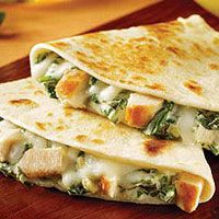 [Chicken, Spinach & Artichoke Quesadillas Recipe] these were so good with a little pico de gallo or guacamole. i used the spinach & artichoke recipe i pinned earlier.