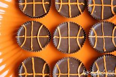 Idea for March Madness Reese's with orange frosting to make it look like a basketball! Perfect! #marchmadness #reeses #basketball