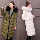 Women's Long Warm Fur Collar Hooded Parkas Thicken Warm Down Jacket Coat S-XL