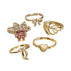 Mudd® Owl, Bow, Leaf & Heart Midi Ring Set