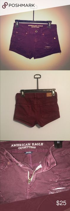 Maroon AE shorts ☀️ Distressed, maroon shorts in great condition. stretch, shortie AE American Eagle Outfitters Shorts Jean Shorts