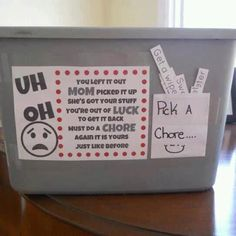 Chore box: leave your toys out, Mom takes them.  Do a chore, earn them back!