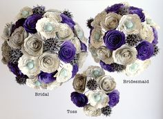 Bridal, Bridesmaid and Toss bouquets made from books and color customized. #weddings #alternativeflowers #AnthologyOnMain