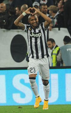 Arturo Vidal of Juventus FC celebrates the goal of 1-0 during the Serie A match between Juventus FC and AC Cesena at Juventus Arena on September 24, 2014 in Turin, Italy.