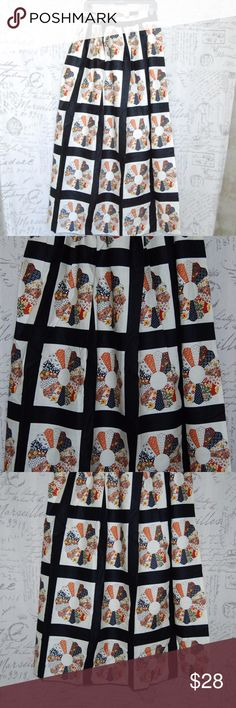 """Vintage Multi Color Wrap Around Long Skirt sz 7 Vintage Multi Color Wrap Around Floral Quilt Pattern Long Skirt size 7 NEW  Measurements taken with garment flat on table. Waist: 30.25"""" (side to side width) Length: 42.5"""" Vintage Skirts"""