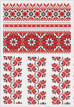 рукав сорочки Cross Stitch Borders, Cross Stitch Flowers, Cross Stitch Charts, Cross Stitch Designs, Cross Stitching, Cross Stitch Patterns, Folk Embroidery, Cross Stitch Embroidery, Embroidery Patterns