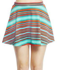 Striped Skater Skirt | WET SEAL