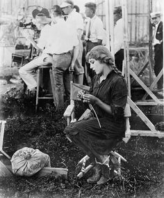 Mary Pickford knits a sweater for disabled World War I veterans while waiting for filming to begin on Sparrows in 1926 (the only film star I've ever been compared to.by several people)