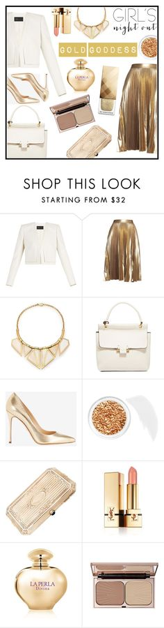 """""""Gold goddess"""" by anchilly23 ❤ liked on Polyvore featuring beauty, BCBGMAXAZRIA, A.L.C., A Peace Treaty, Lanvin, Sergio Rossi, Stila, Yves Saint Laurent, La Perla and Charlotte Tilbury"""