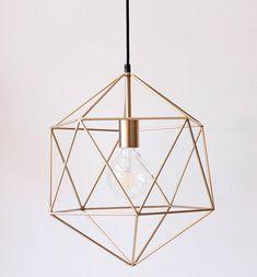 Gold Geometric Pendant Light Chandelier Polyhedron Industrial