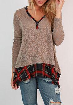 Stylish V-Neck Long Sleeve Gingham Spliced Women's BlouseBlouses | RoseGal.com